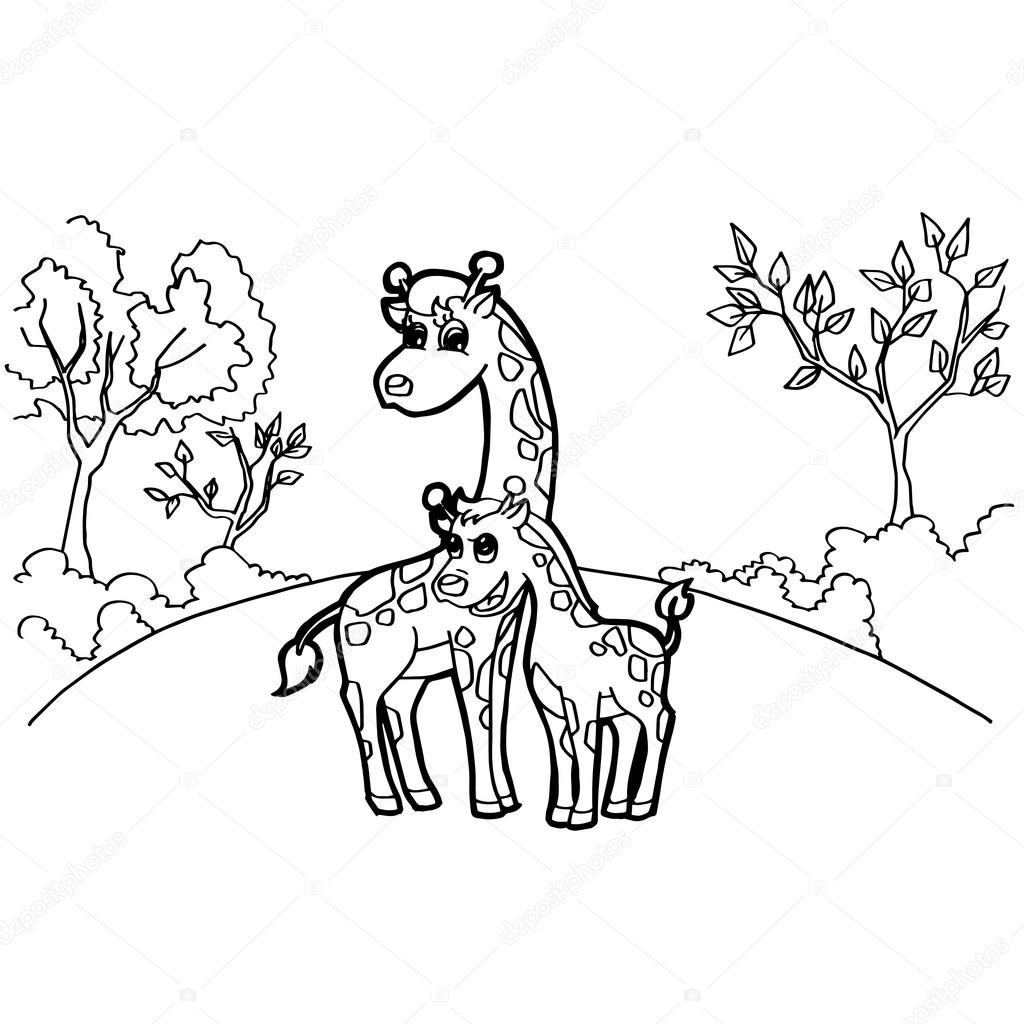 1024x1024 Giraffe Cartoon Coloring Pages Vector Stock Vector Attaphongw