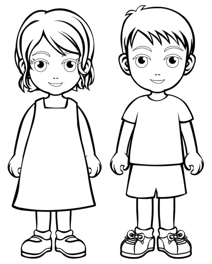700x869 Boy And Girl Coloring Pages