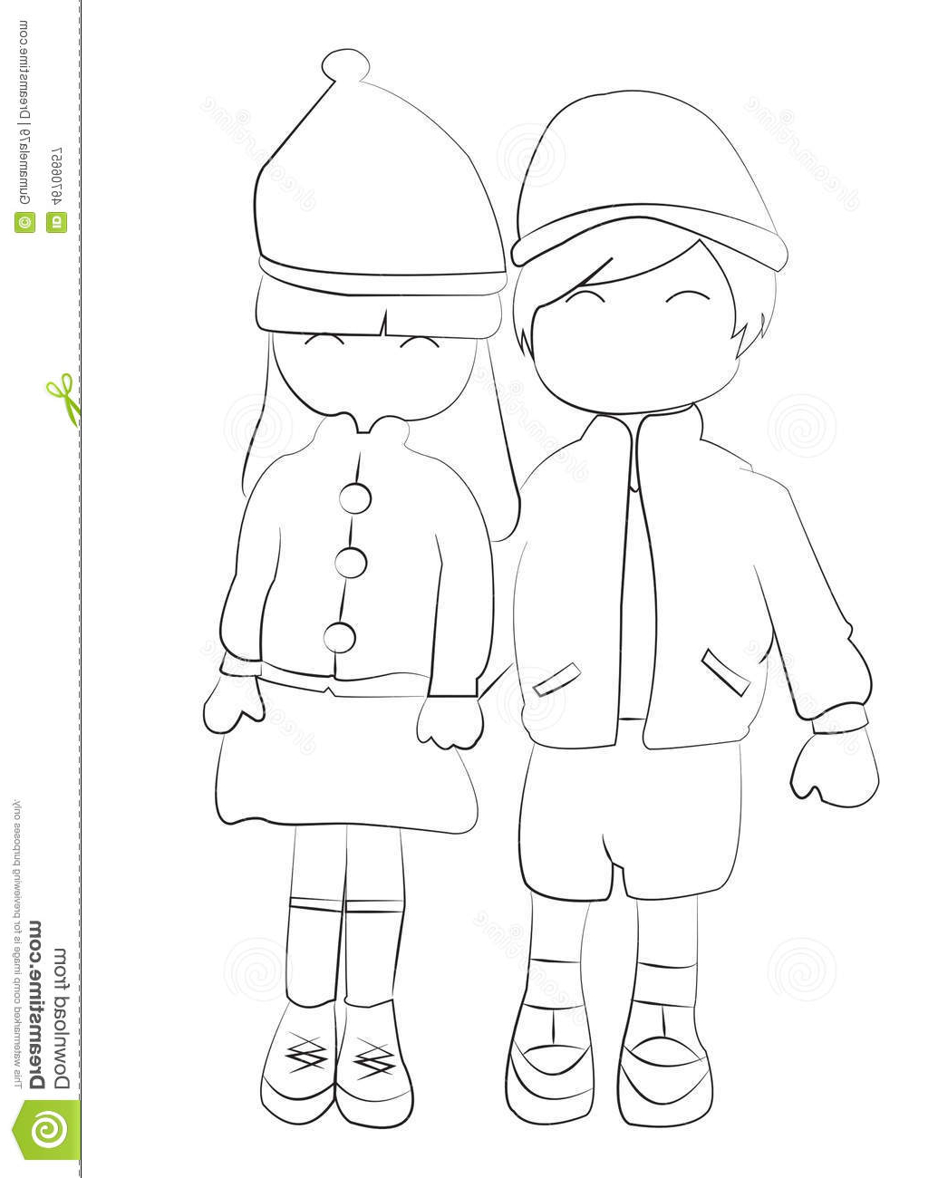 1035x1300 Boynd Girl Holding Hands Drawing Hand Drawn Coloring Page