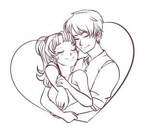 302x276 Drawn Anime Couple