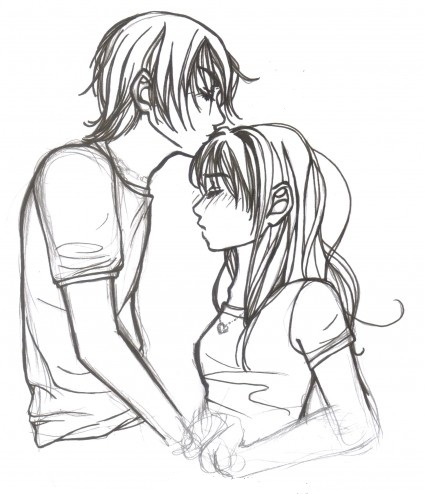 425x494 Pencil Sketch Of Couple With Boy Kissed Her Friend's Forehead