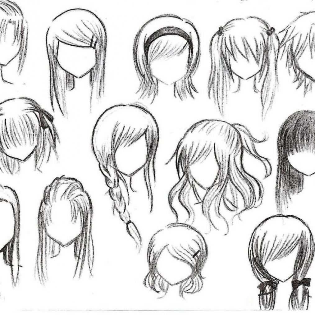 1014x1014 Hairstyles ~ Anime Girl Hairstyles Drawings Anime Hairstyles