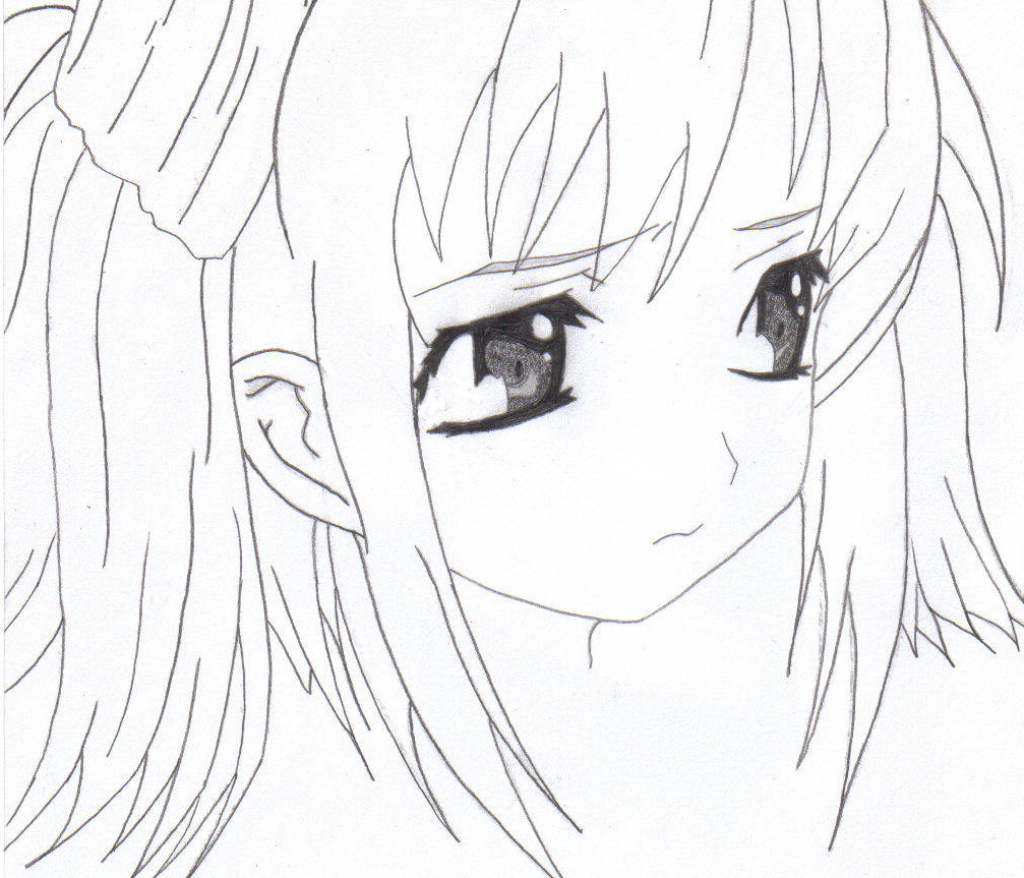 1024x878 How To Draw Beautiful Anime Girl Anime Sad Girl Sketch Anime Girl