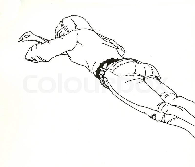 800x684 Laying Sleeping Girl Back View Line Art Drawing Stock Photo