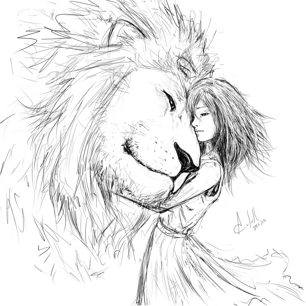 1024x1024 Sketching The Lion And The Girl By Acutulli