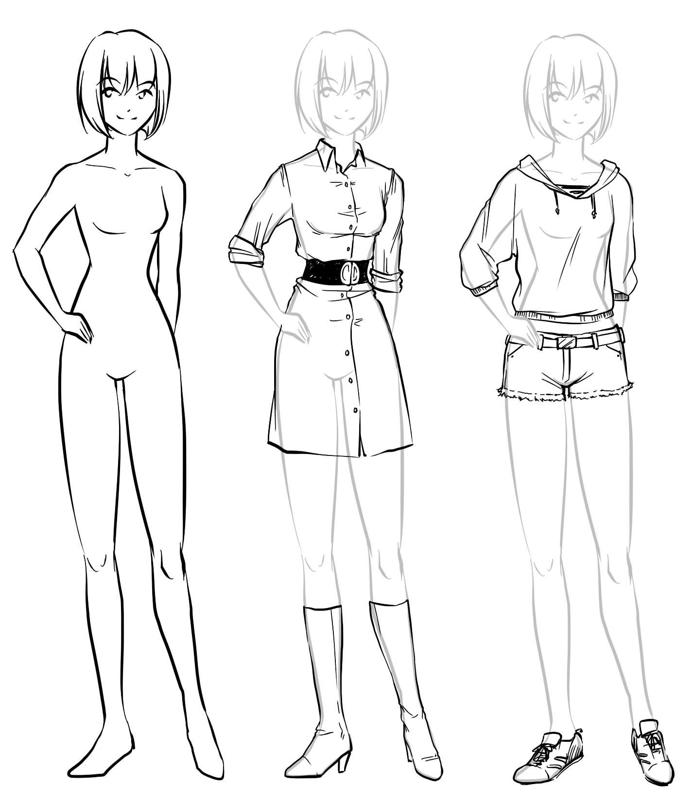1428x1654 Anime Girl Full Body Drawing With Clothing