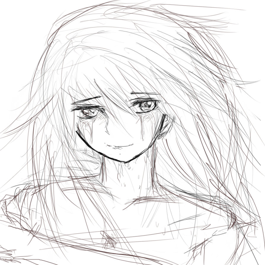 894x894 Crying Girl Sketch By Thepuccafan