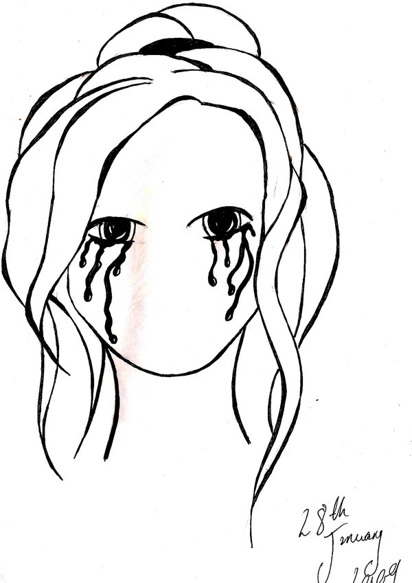 600x849 Girl Crying Ink By Finlay