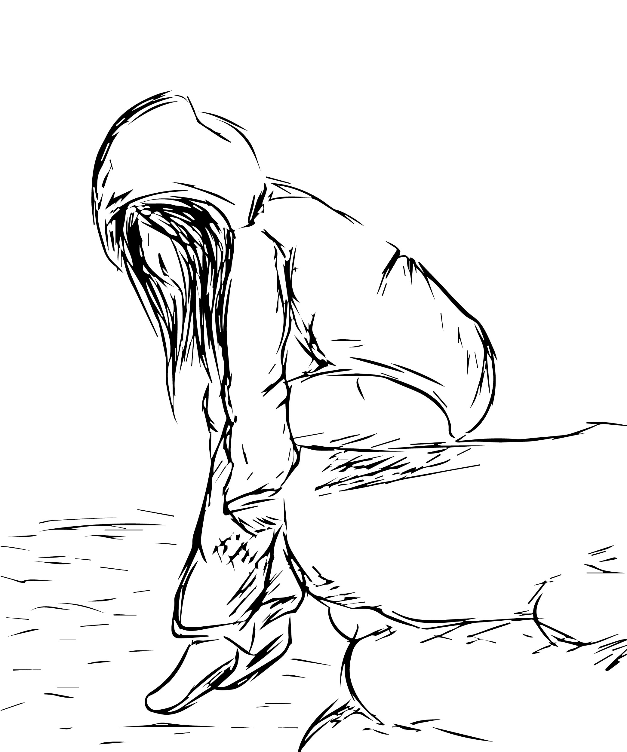 2085x2502 Line Drawing Of Crying Girl Depressed Sad Anime Girl Crying