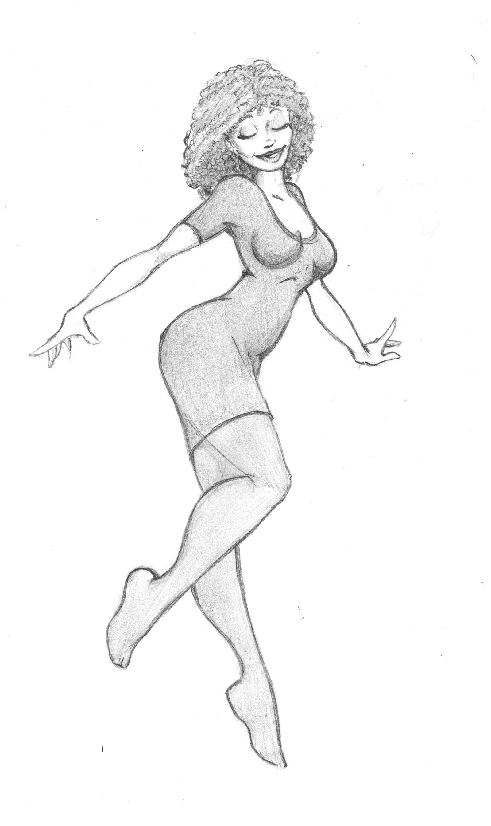 Girl Dancing Drawing