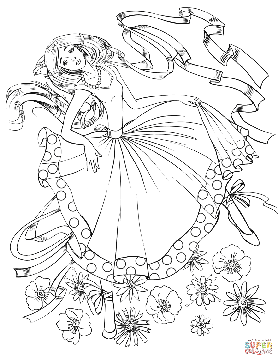 1159x1500 Girl Dancing With A Ribbon Coloring Page Free Printable Coloring