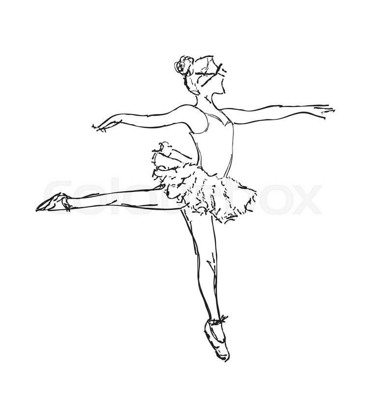 761x800 Hand Drawn Ballerina Dance. Girl Dance Sketch Stock Vector