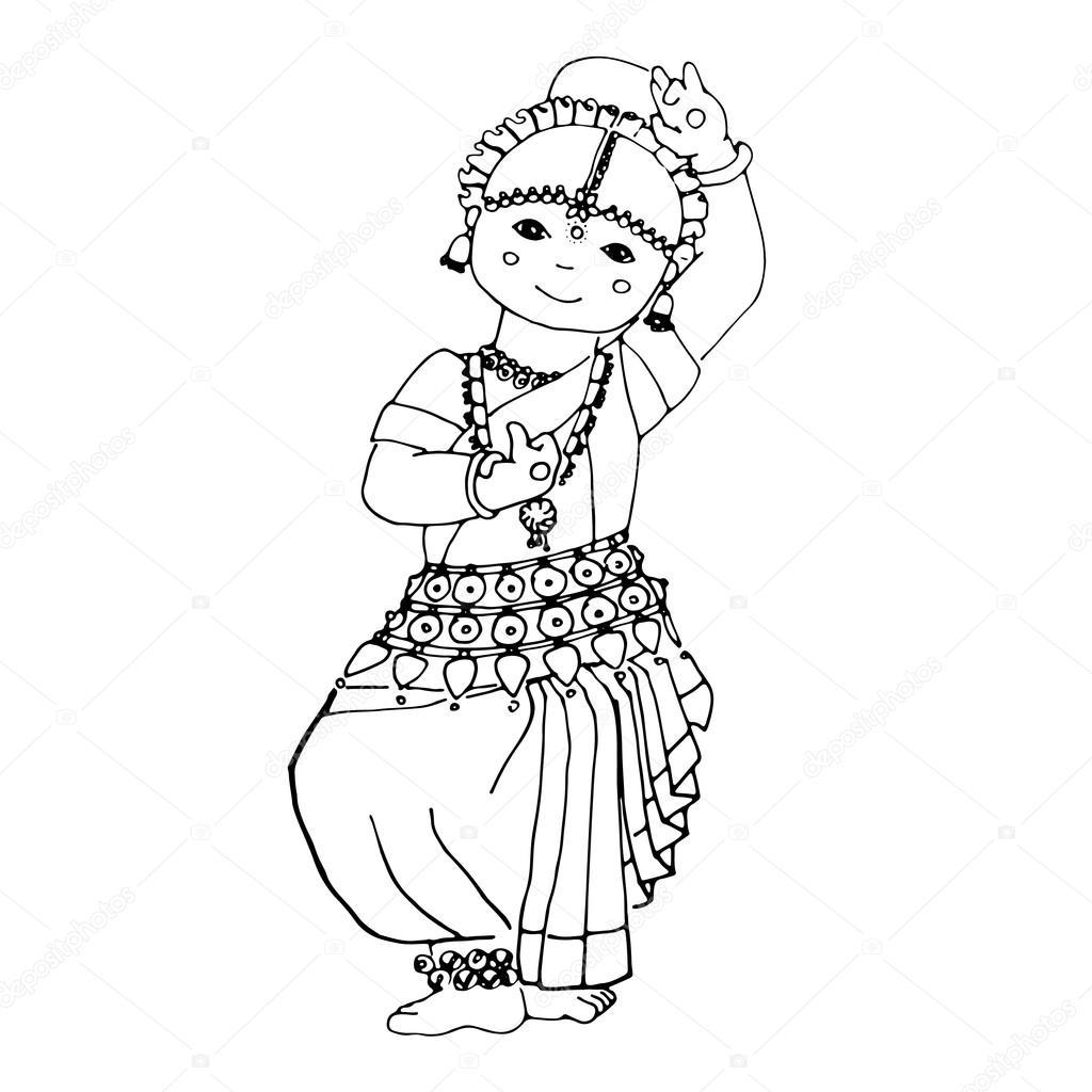 1024x1024 Dancing Indian Girl Stock Vector