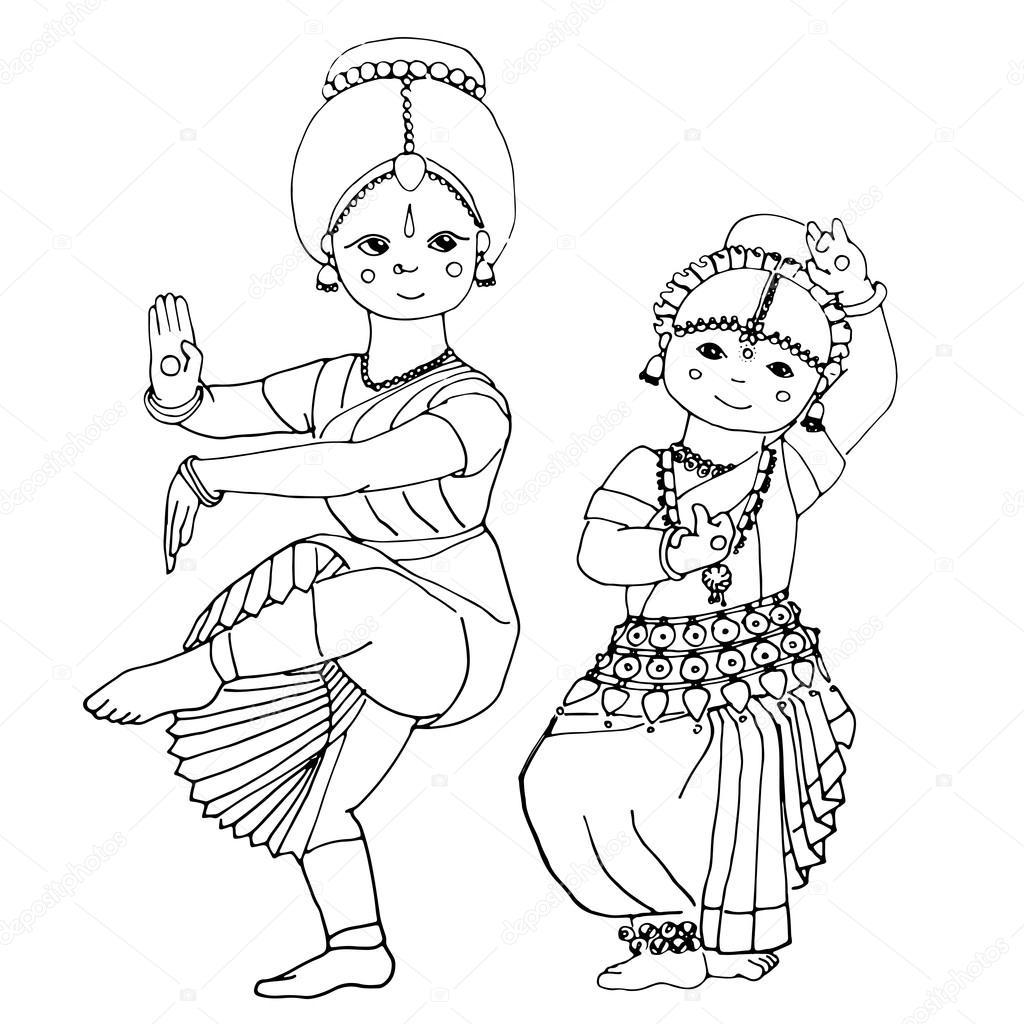 1024x1024 Dancing Indian Girls Stock Vector