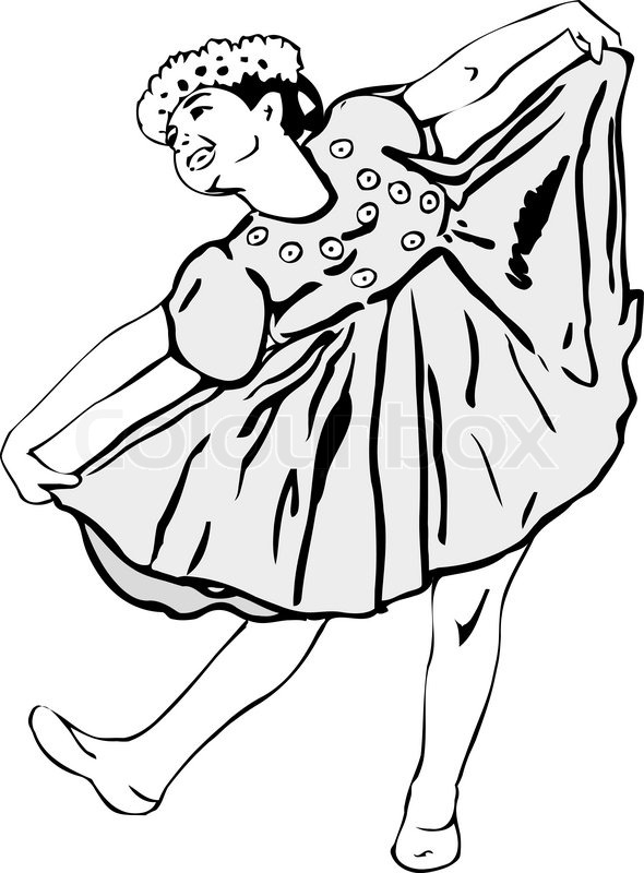 590x800 Black And White Picture Girl Dancing In Garlands Stock Vector