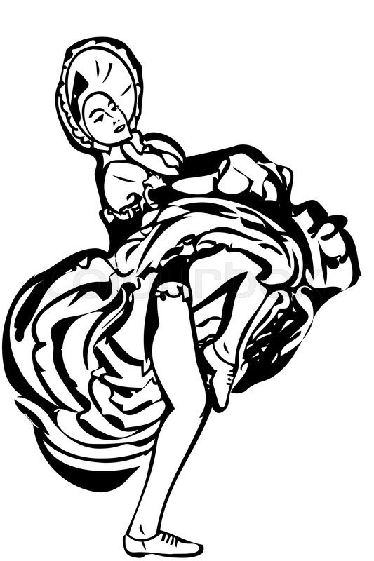 533x800 Black And White Vector Sketch Of A Girl Dancing The Cancan Skirt
