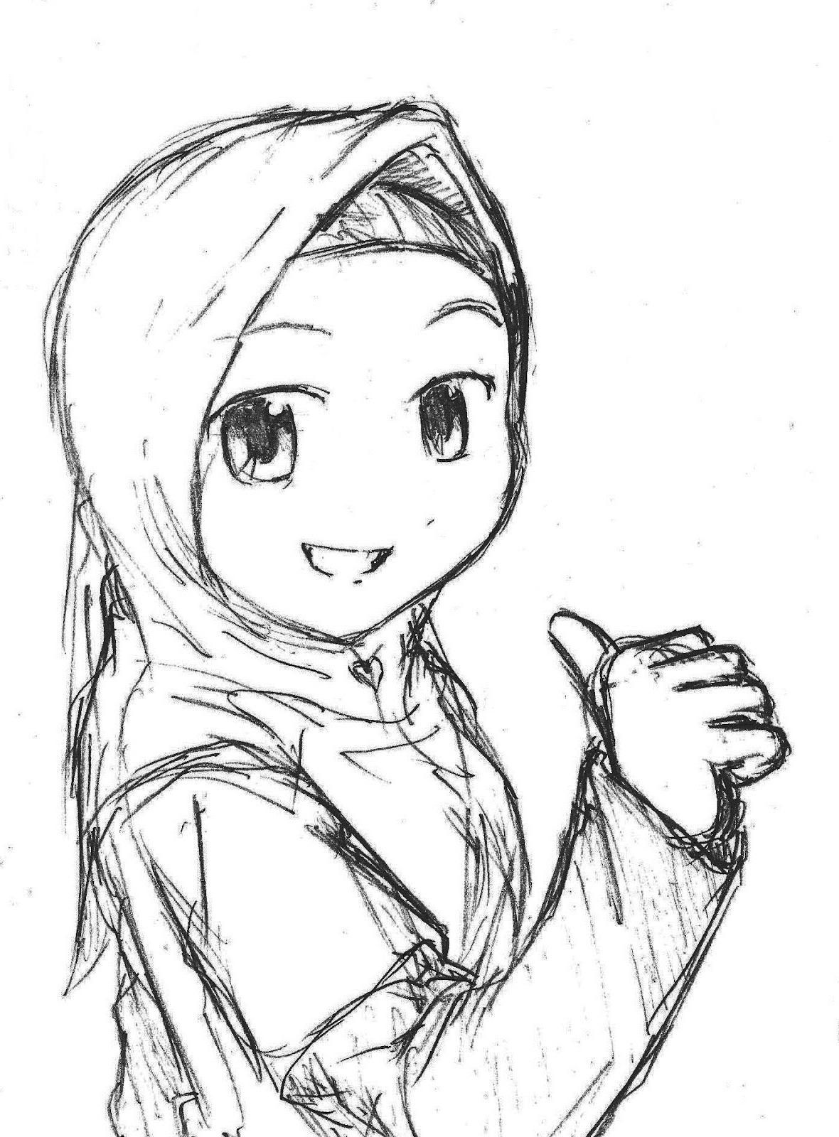 1180x1600 Girl Wearing Hijab Drawing Sketch Of A Girl Wearing A Hijab Sketch