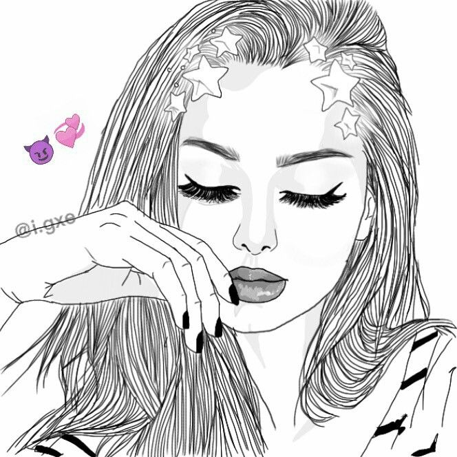 664x664 pictures draw outline girl drawings tumblr