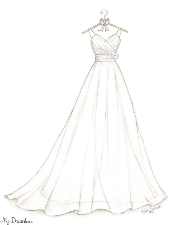 570x740 Bridal Shower Gift, Wedding Dress Sketch, Bride Gift From Maid