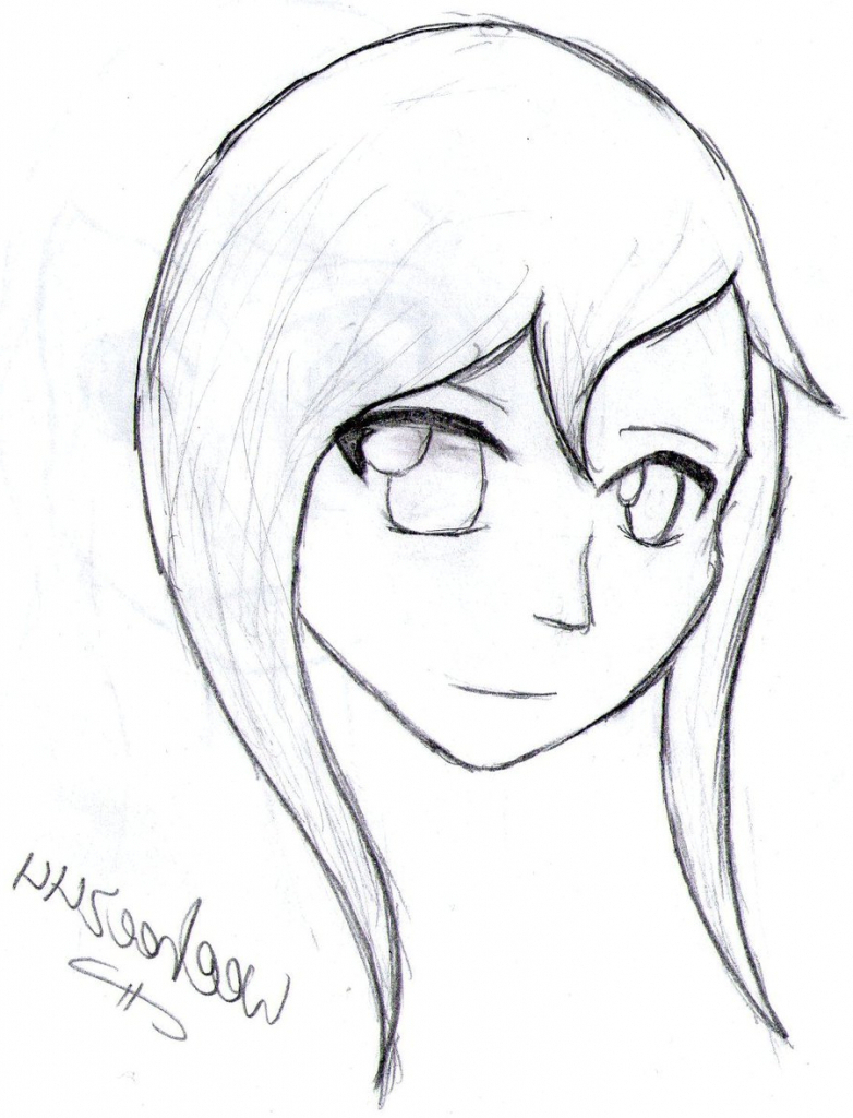 782x1024 Simple Sketch A Girl Face Face Drawing Easy Easy Sketch Face