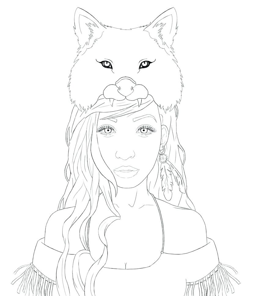 828x966 Wolf Girl Outline By Winged Drawing Face Pup Wolf Pup Drawing