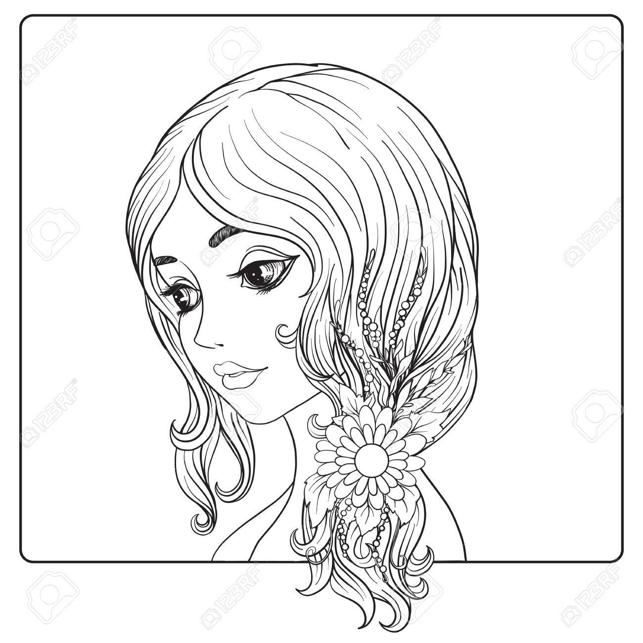 Girl Drawing Outline