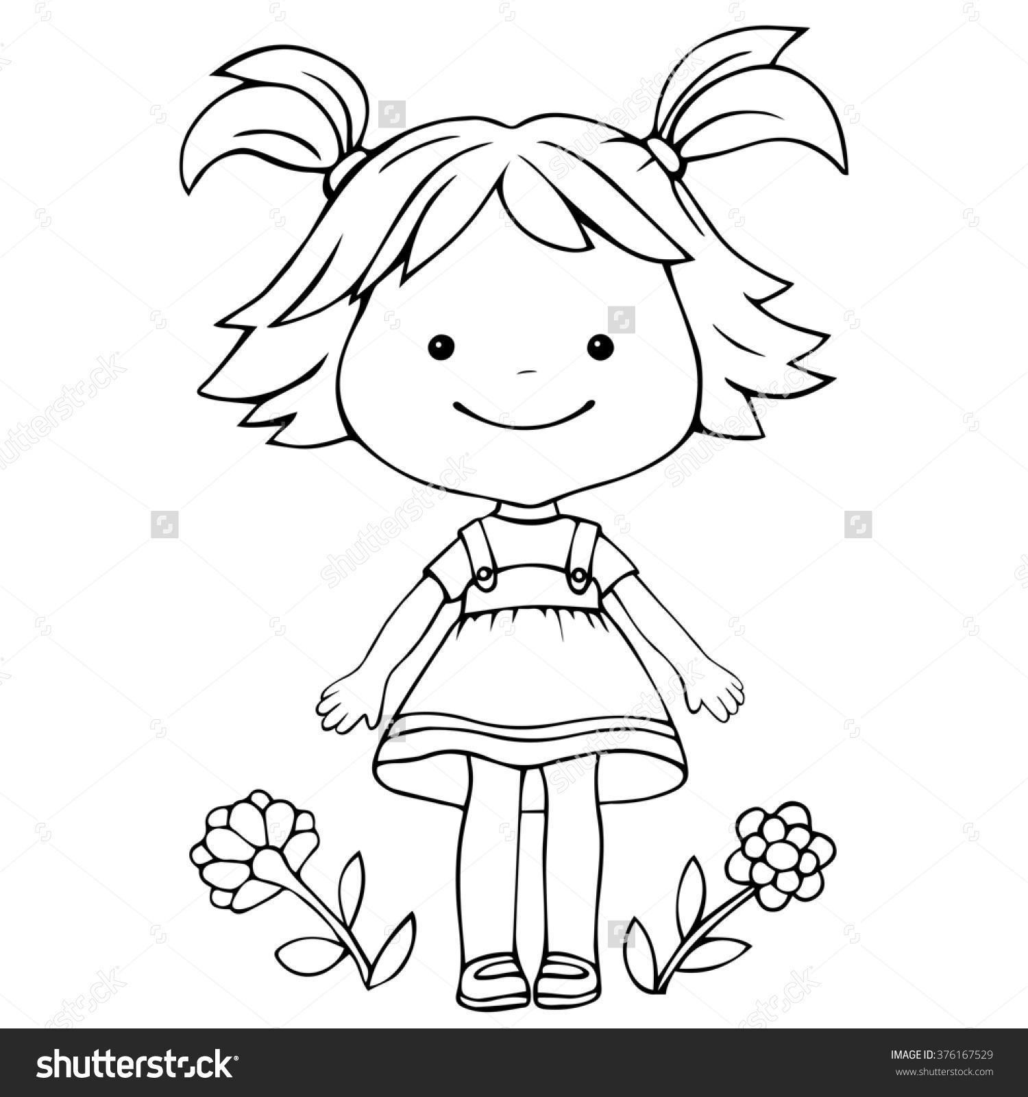 1500x1600 A Little Girl Drawing Illustration Little Girl Standing Flowers