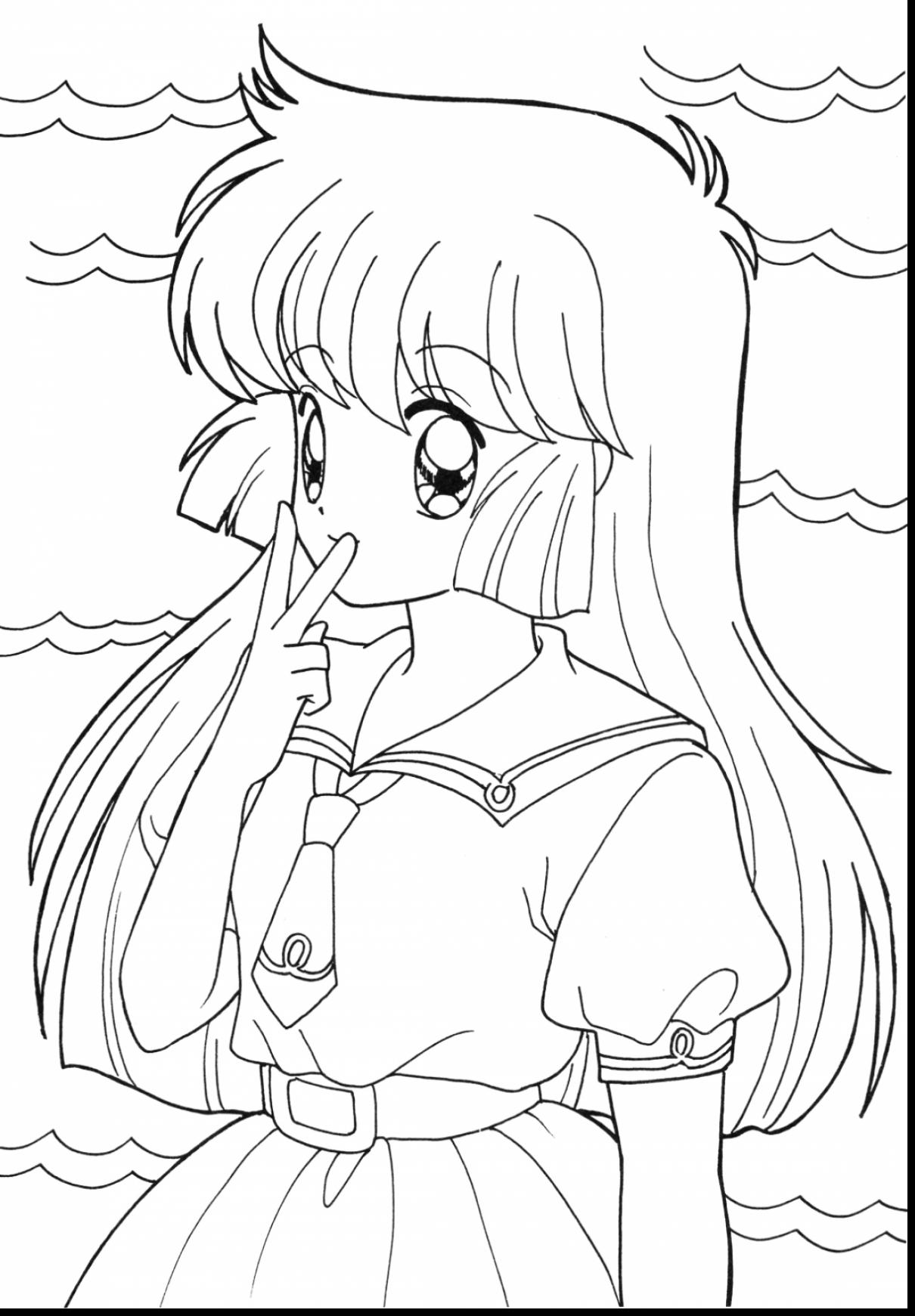 1210x1741 Remarkable Easy Anime Girl Drawing With Coloring Pages And Wolf