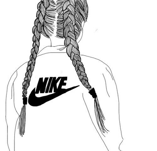 500x483 Black Outline Of A Girl Wearing A Nike Jumper Xo Drawings