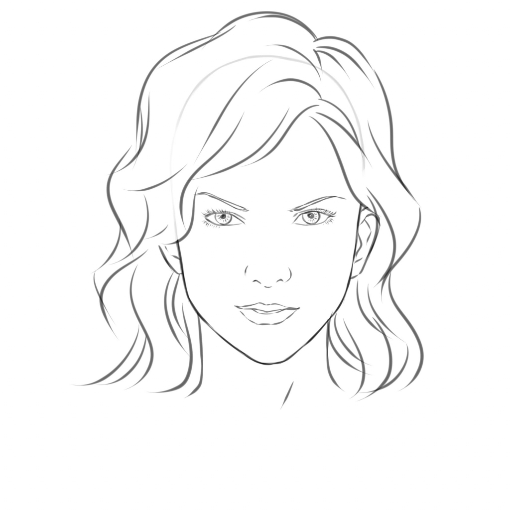 1024x1024 Girls Face Simple Drawing Simple Girl Face Drawing Coloring Pages