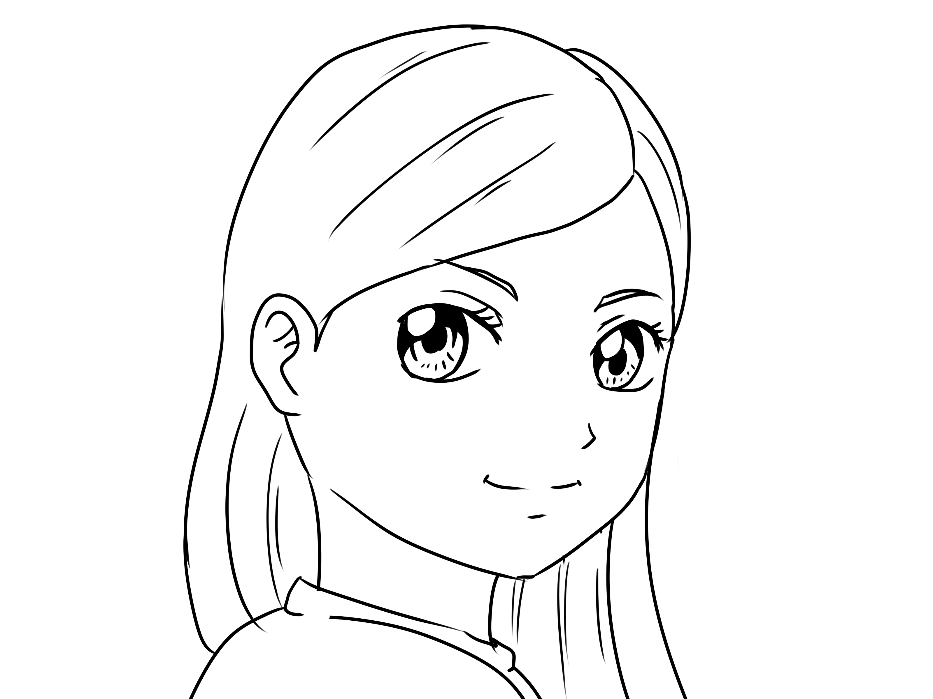 3200x2400 Simple Sketch Of A Girl Face Simple Drawing Of A Girl