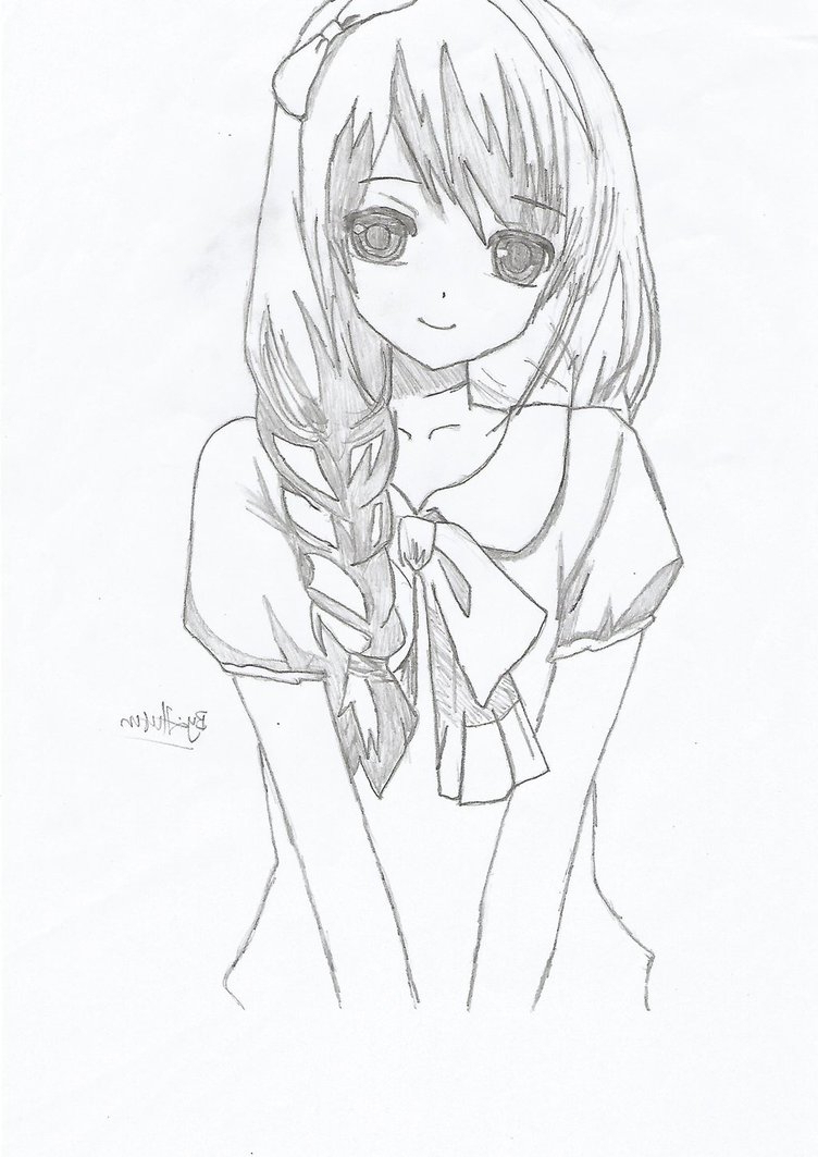 752x1063 Cute Anime Pictures Easy To Draw Simple Anime Girl Drawing Easy