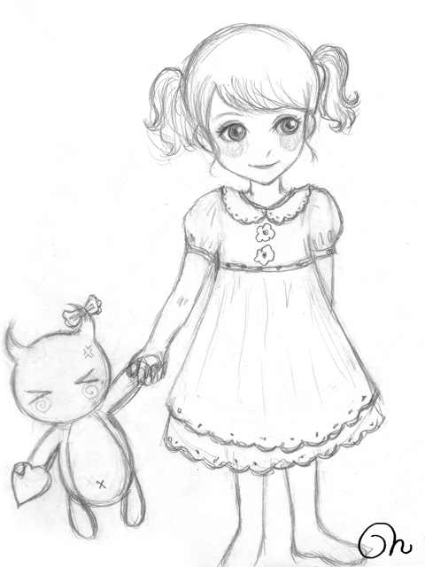 480x640 Drawn Little Girl Sketched