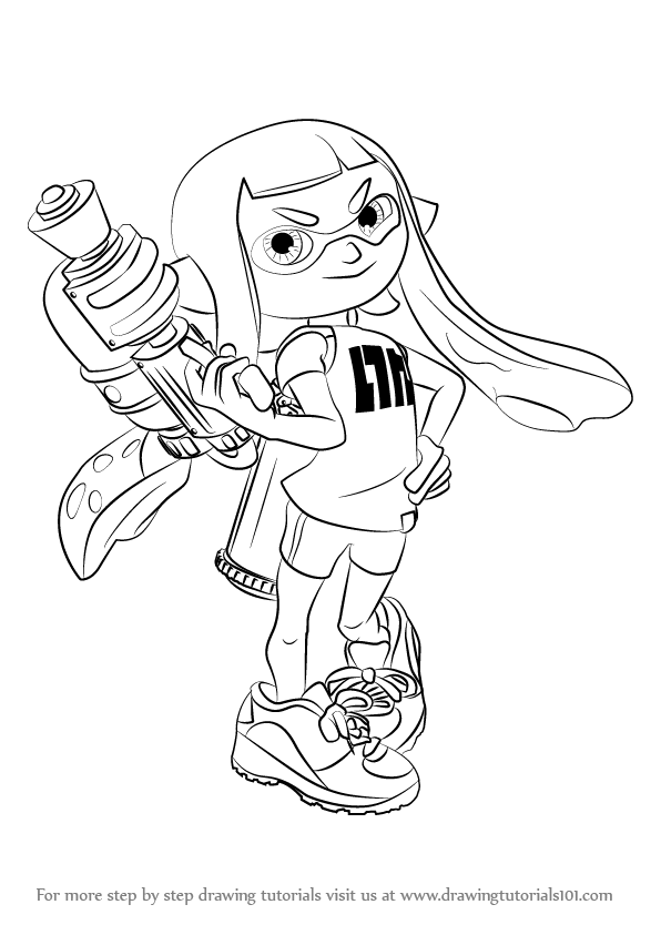 596x843 Learn How To Draw Inkling Female From Splatoon (Splatoon) Step By