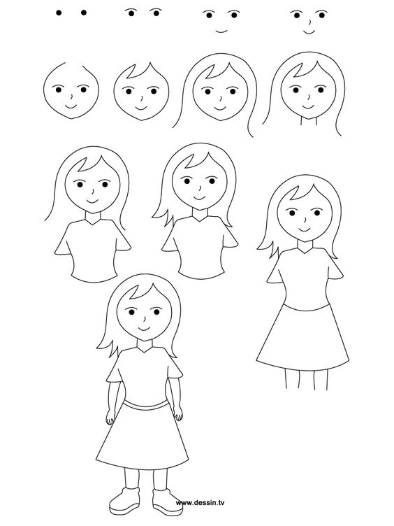 564x752 pictures how to draw a girl for kids