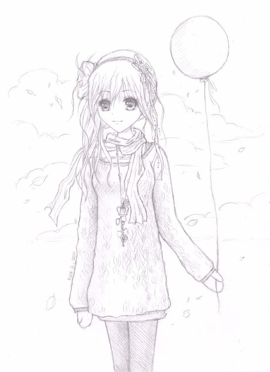900x1241 Girl Holding Balloon Sketch By An0nym0use99