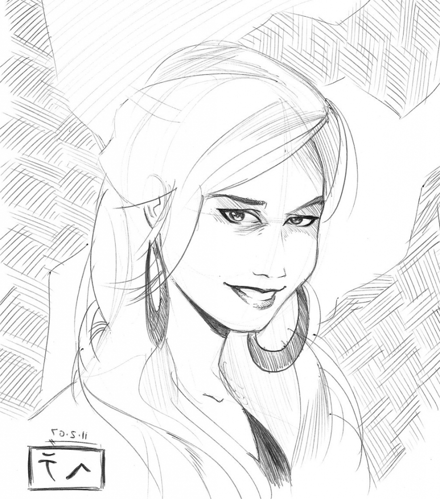 903x1024 Hd Wallpaper Of Cute Girl Face Sketch