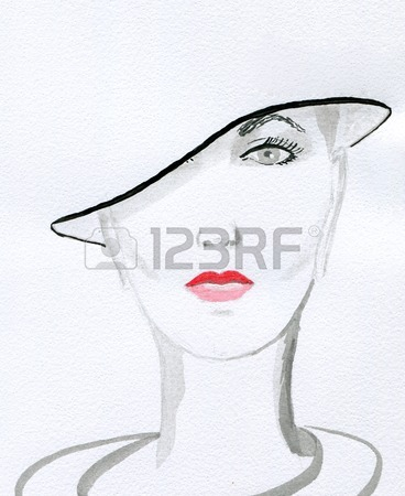 368x450 Portrait Of A Girl In A Hat, Isolated On White Background. Hand
