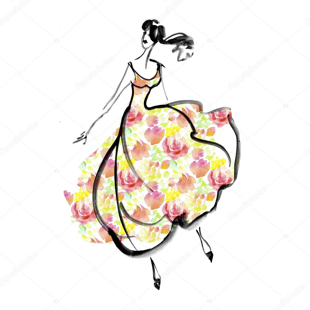 1023x1023 Fashion Girl In Floral Dress Concept. Watercolor Sketch Illustra