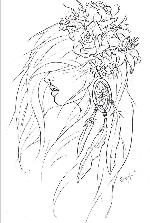 Girl Dreaming Drawing