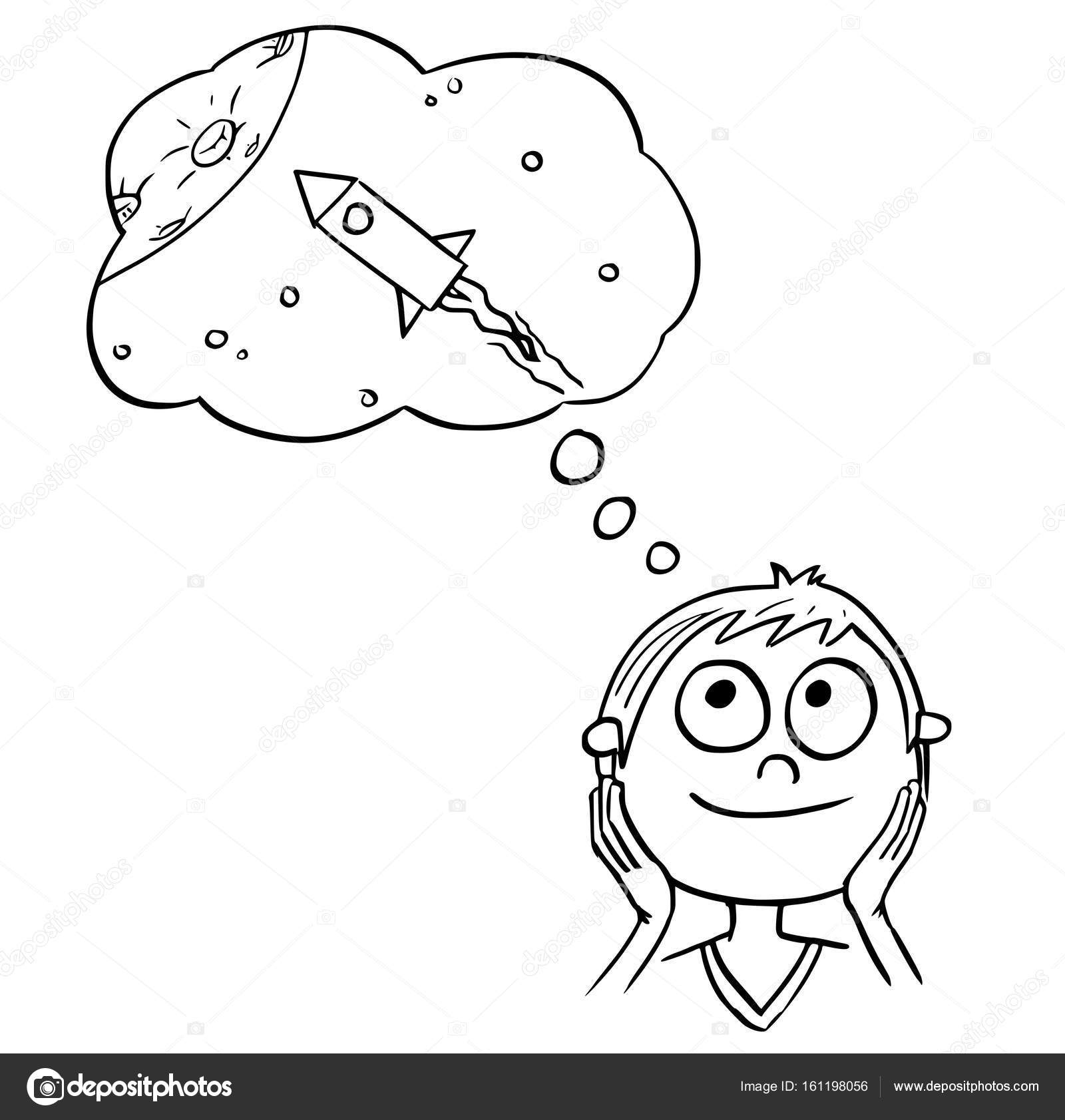 1600x1683 Cartoon Illustration Of Boy Dreaming About Space Travels Stock