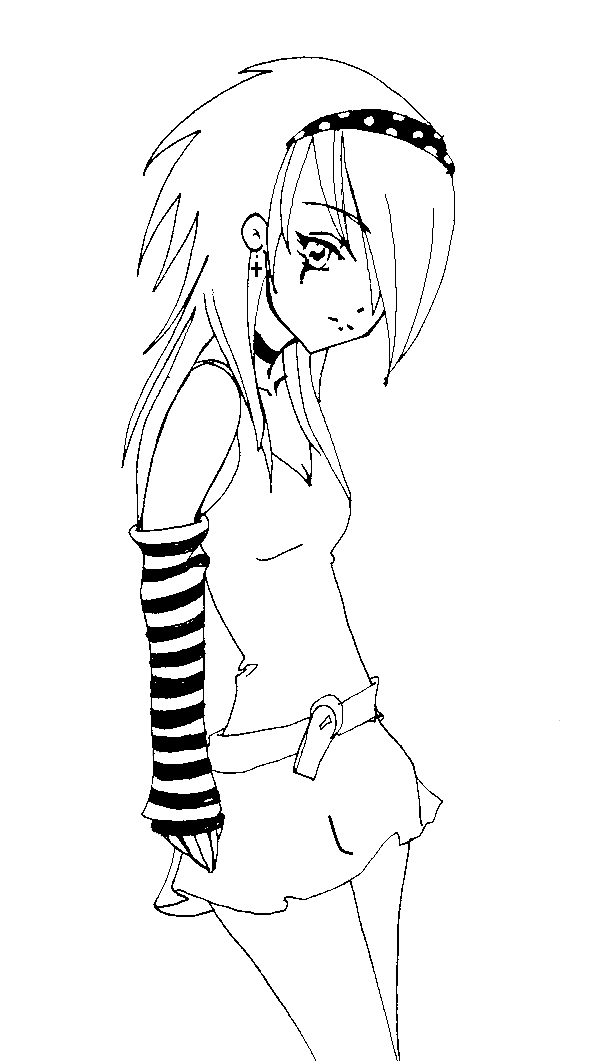 600x1061 Punk Anime Girl Coloring Pages Beautiful Anime Girls Coloring