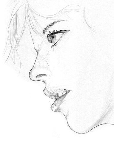 382x480 drawn profile woman39s