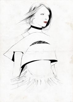 236x332 Fashion Sketch In Charcoal Fashion Illustration Susanna Ngao