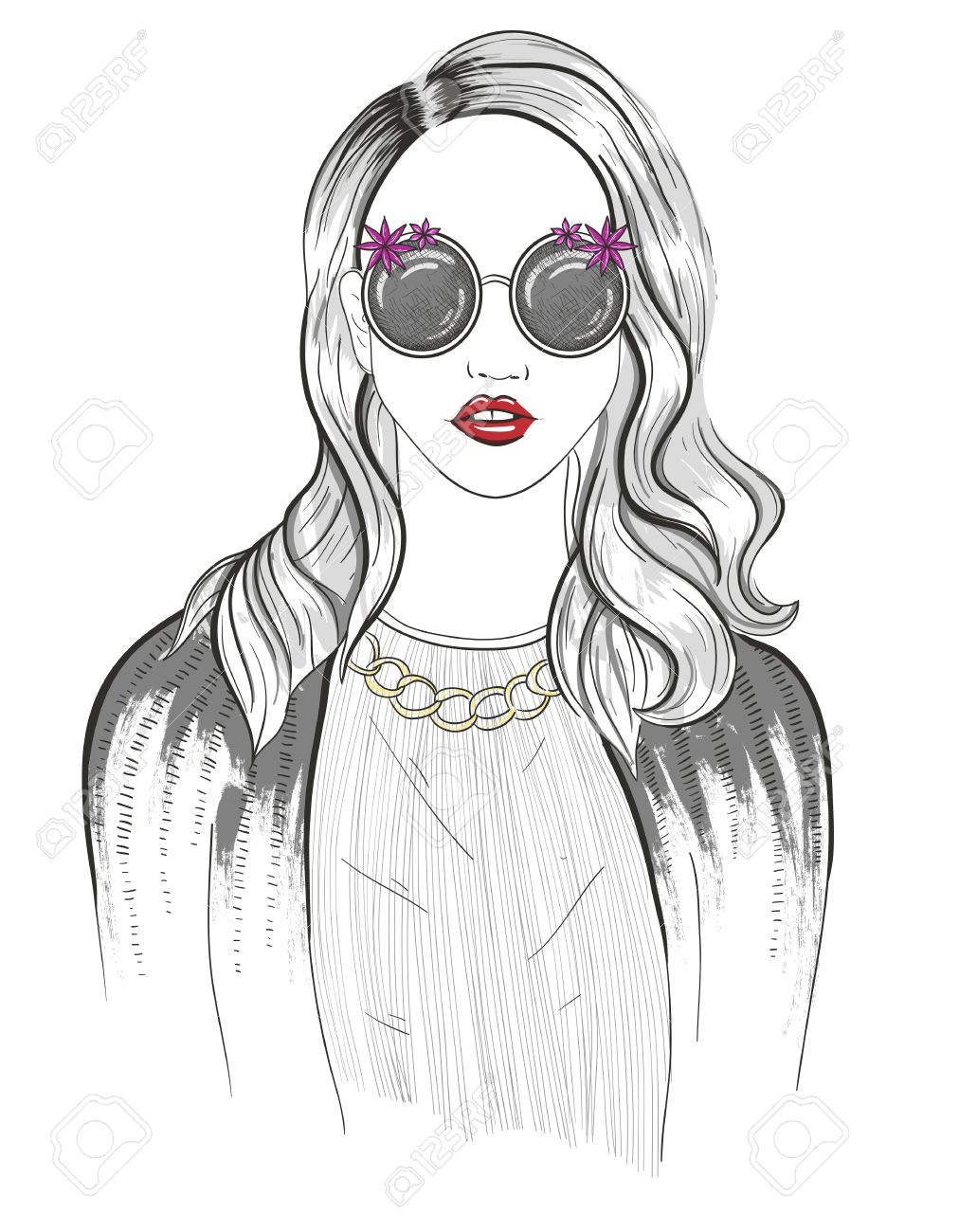 1031x1300 Young Girl Fashion Illustration Royalty Free Cliparts, Vectors