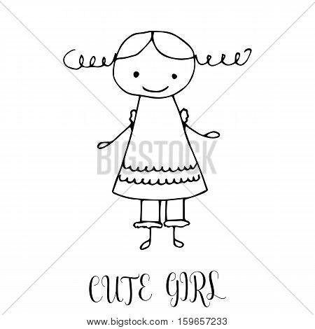 450x470 Cute Little Girl. Hand Drawing Vector Amp Photo Bigstock
