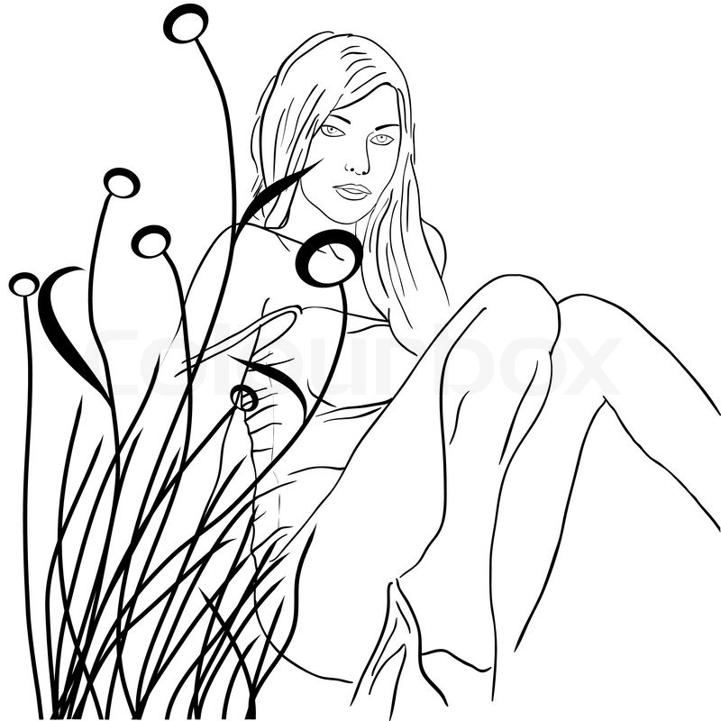 800x800 Eps10 Hand Drawn Fashion Girl On A Floral Background Stock