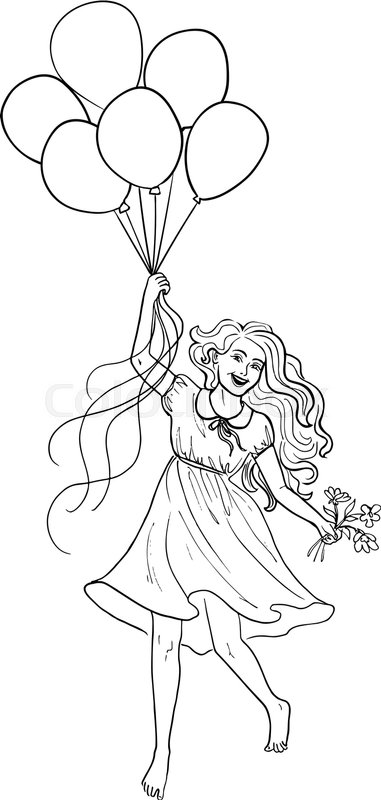 381x800 Hand Drawn Sketch Of Happy Girl And Balloons Stock Vector