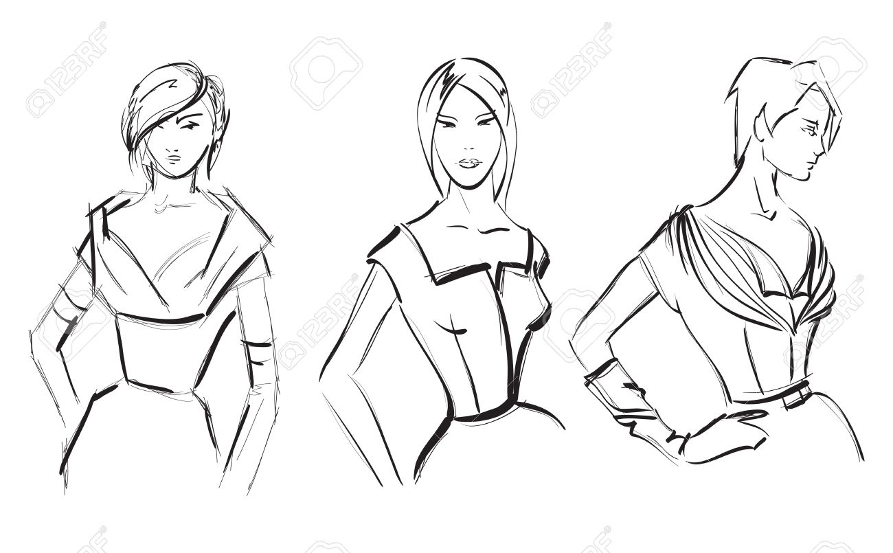 1300x805 Sketch. Fashion Girl. Hand Drawn Fashion Model Royalty Free