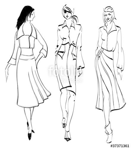 441x500 Sketch. Fashion Girl. Hand Drawn Fashion Model. Vector Illustrat